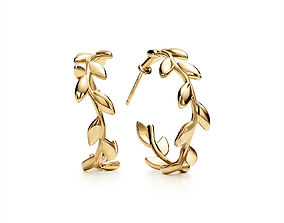 Tiffany Olive Leaf Hoop Earrings 3D print model