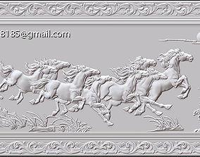 Horses bas relief 3D print model cnc