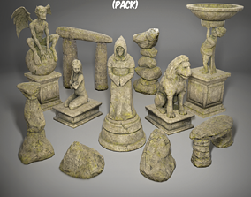 Statues and rocks pack 3D asset