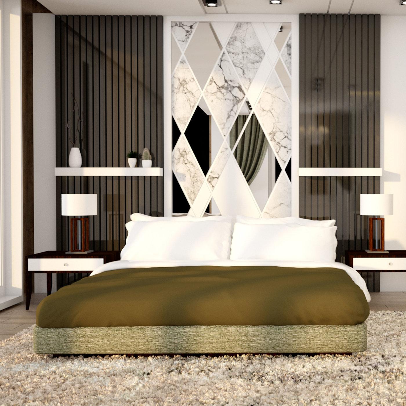 Modern bedroom interior. Bedroom Scandinavian style. 3d illustration