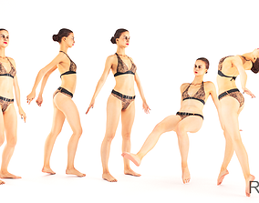 3D model Beautiful woman in a swimsuit rigged and animated
