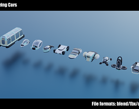 Stylized Flying Cars 1-10 3D model low-poly