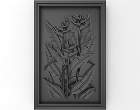 3D print model A plant in the frame bas relief for CNC