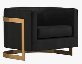 Black And Gold Milo Baughman Chair 3D