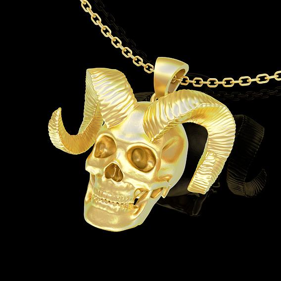 Horned Skull Pendant jewelry Gold 3D print model