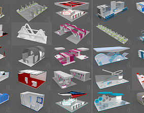 A collection of 25 large custom exhibition stands 3D