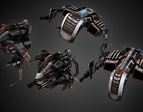 3D model Low poly star fighter pack