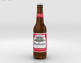 pint Budweiser Beer Bottle 3D model