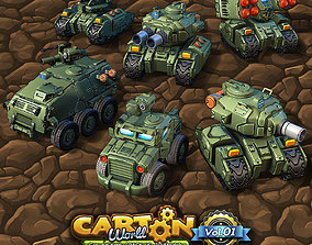 6 Low-Res Cartoon Ground Units 3D model realtime