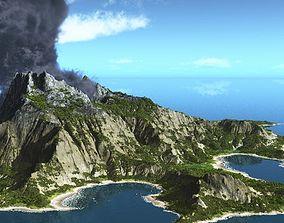 summer Volcano island in Vue 3D model