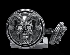 old 3D printable model skull cufflinks