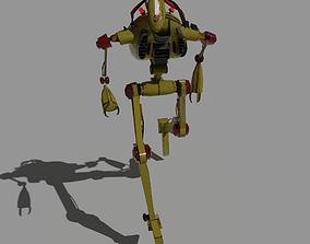 Old yellow robot worker 3D asset