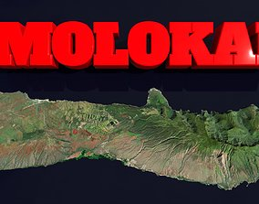 3D model low-poly Molokai Island