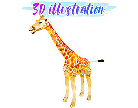 Low Poly Giraffe Illustration Animated - Game 3D model