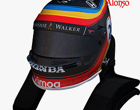 3D model Alonso indy helmet 2017