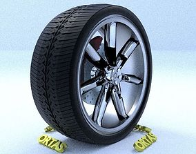 3D model ORTAS CAR RIM 23 GAME READY RIM TIRE AND DISC