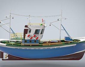 fishing ship 3D model ocean
