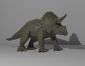 Triceratops Low Poly 3D printable model
