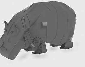 Low-poly hippo 3D model horse