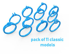 3D print model Pack of 11 classic rings