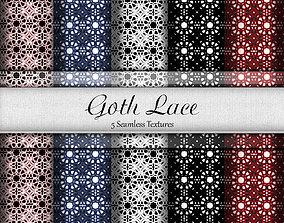 3D model Goth Lace Fabrics Seamless Textures Set
