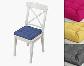 3D Ikea Ingolf chair with a pillow Hoff with simple colors