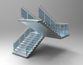 Concrete Stair Case with Glass Balustrade 3D
