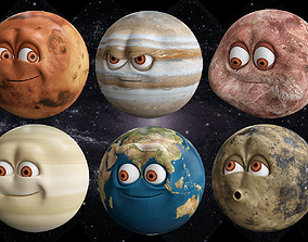 3D model solar system all Planets with morpher rig