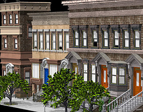 3D Brownstone Street Scene 1 for iClone
