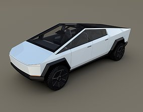 3D model cyber Tesla Cybertruck with interior White