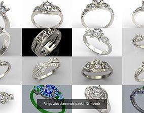 Rings with diamonds pack 3D model