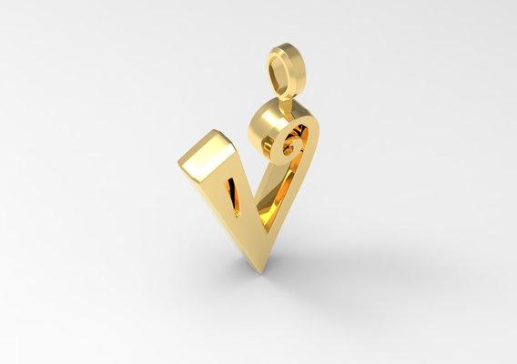 V Letter Pendant Gold