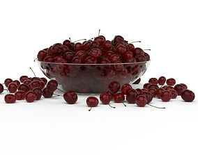 3D model Scattered Cherries in glass vase
