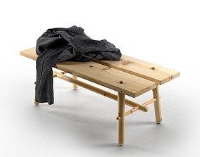 Bathrobe on Wooden Bench 3D