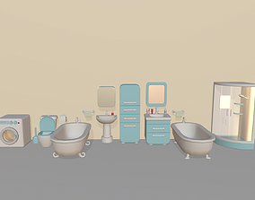 Cartoon Bathroom Package 3D asset low-poly