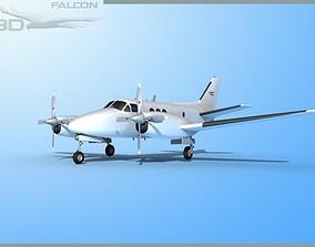 Falcon3D E90 King Air Bare Metal rigged