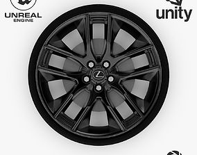 Wheel Steel-Chrome Dark Alloy Rim Lexus 19 3D asset 2