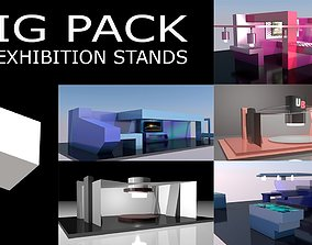 3D asset 5 Different Exhibition Stands BIG PACK