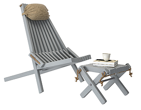 Modern wood loungechair 3D model
