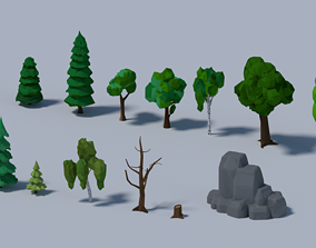 3D model realtime Low-poly trees