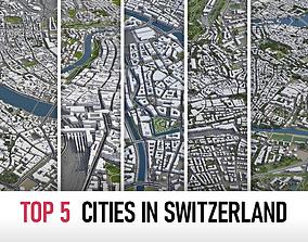 3D Top 5 Cities in Switzerland