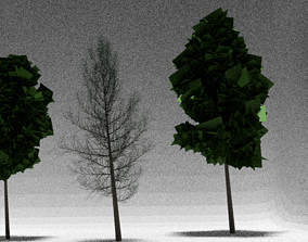 3D model Three LOW POLY Trees