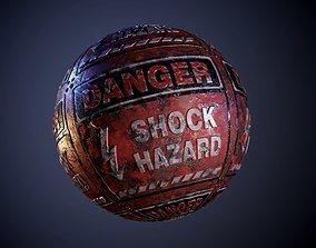 Metal Danger Hazard Red Sign Rusty Seamless PBR 3D model