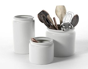 Ceramic Pots with Utensils 3D model