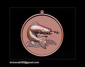 Pendant Little Salmon - Bas Relief 3D printable model 2