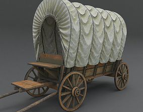 Wooden covered cart 3d model PBR vehicle