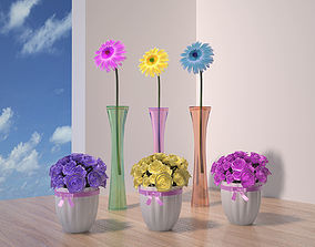 3D asset Flower potted flowerbed morning glory bonsai 1
