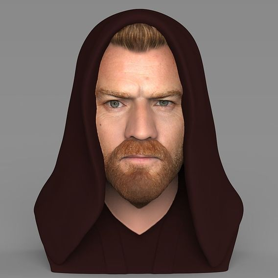 Obi Wan Kenobi bust for full color 3D printing