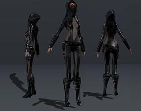 3D asset Female Hooded Ninja Full Character