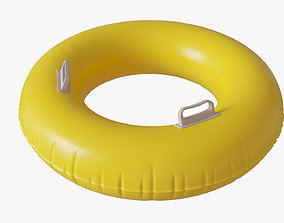 Yellow swimming ring with handles 3D model
